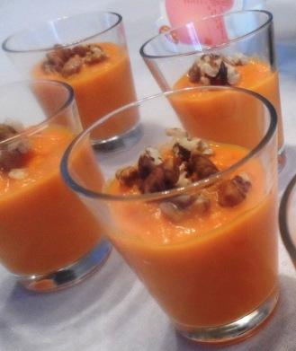 verrines de mousseline de carottes miel et noix