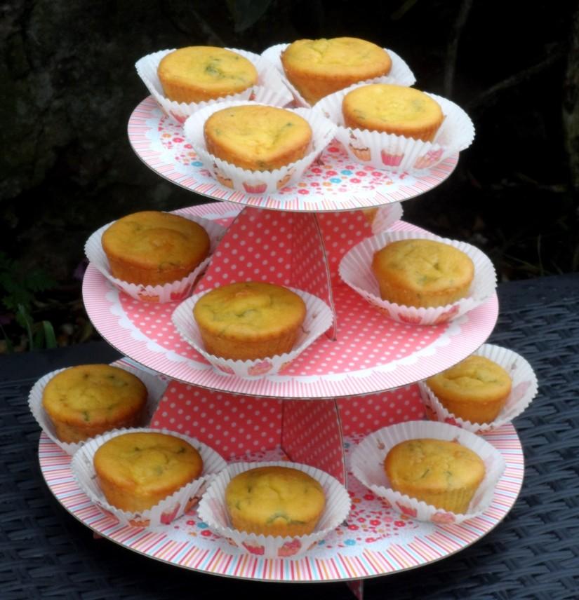 Muffin au melon, noisettes, et menthe