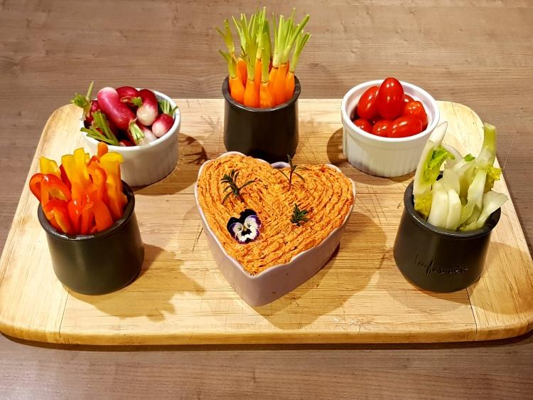 Rillete de chorizo et ses petits légumes croquant