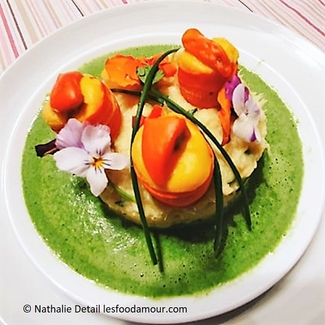 Cabillaud façon brandade, bouchées de Saint-Jacques et sauce verdure