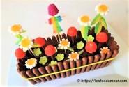 Gâteau 3D jardinière en chocolat