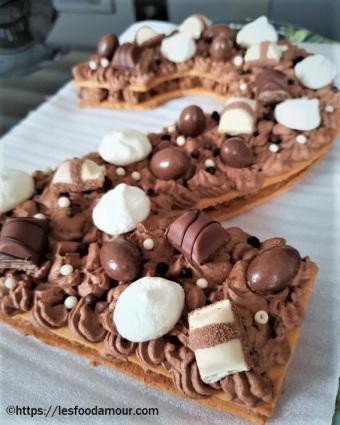 Number cake ganache chocolat kinder
