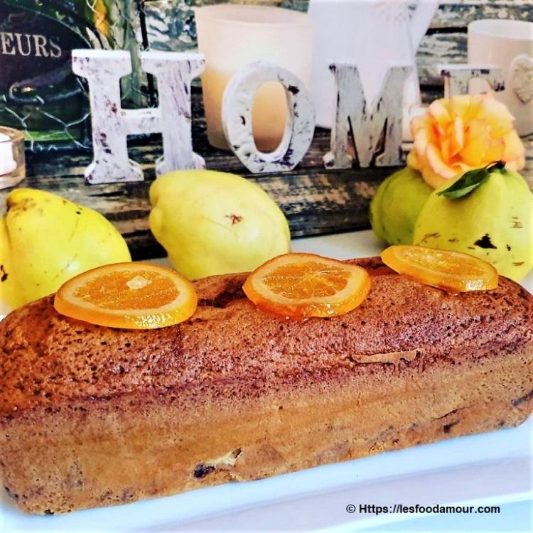 Cake aux coings caramelises et oranges confites