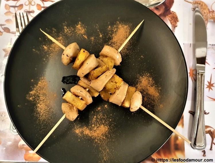 Brochettes de boudin blanc ananas aux 4 épices